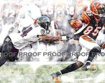 New Chad Ochocinco Cincinnati Bengals Art LE 50 12x18