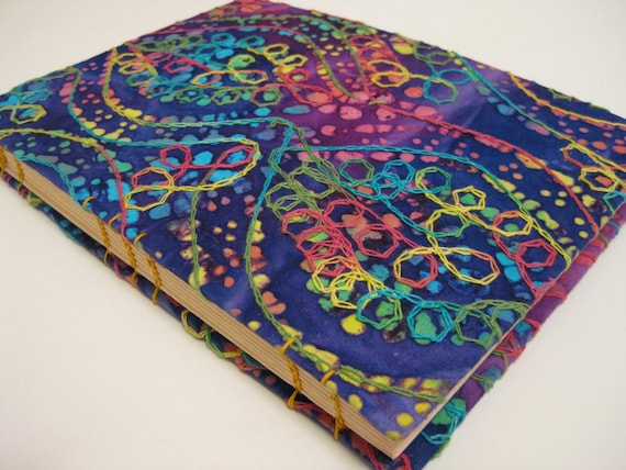 Handmade Journal - Rainbow, Purple, Batik - Fabric, Textured - Lined Pages - Unique