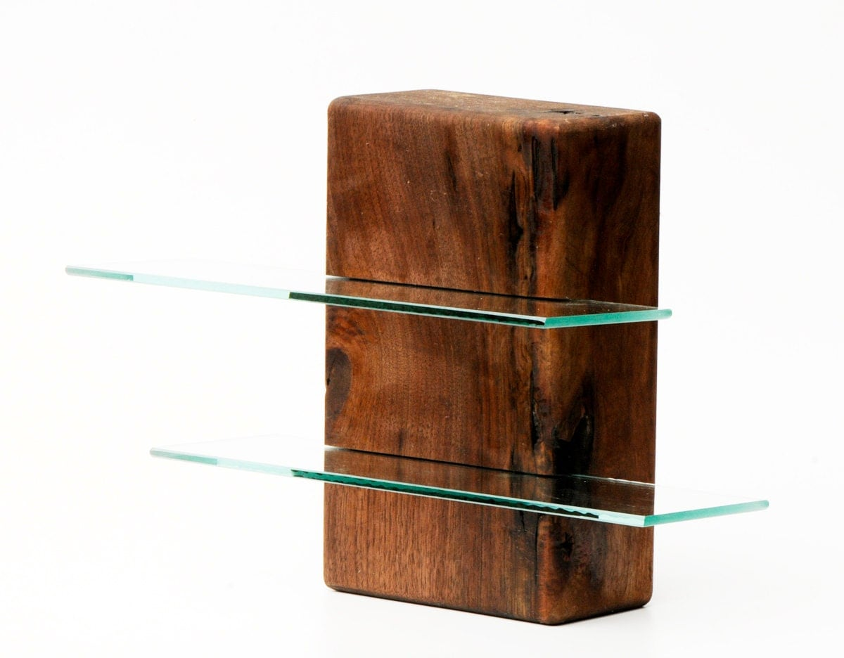 Walnut free standing shelving unit with two glass shelves - Glass free standing shelves ...