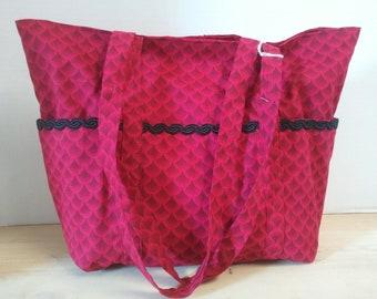 Red Print Tote Bag