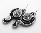 Black and White Soutache Earrings Sterling Silver Ear Hooks