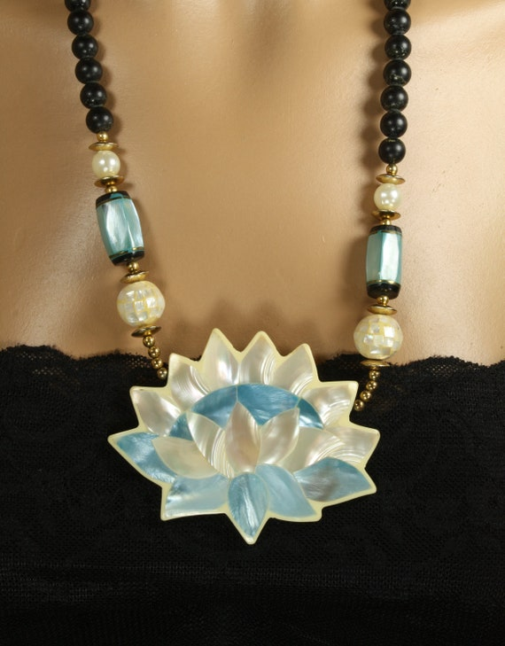 Vintage Mother of Pearl Lotus Statement Necklace Huge Pale Blue, White, and Black Water Lilly