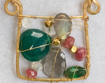 Bejeweled gem art necklace wearable art