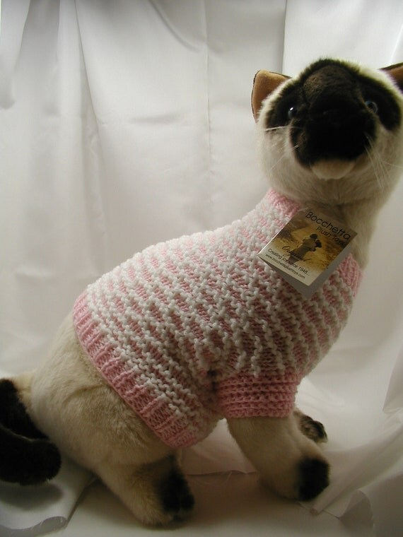 Knitting Pattern Cat Clothes : Hand Knit Cat Sweater Pattern by HandCraftedbyAnne Etsy