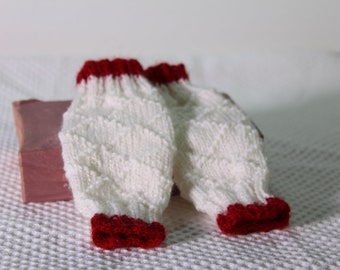 Hand Knit Christmas Red and White Baby Leg Warmers