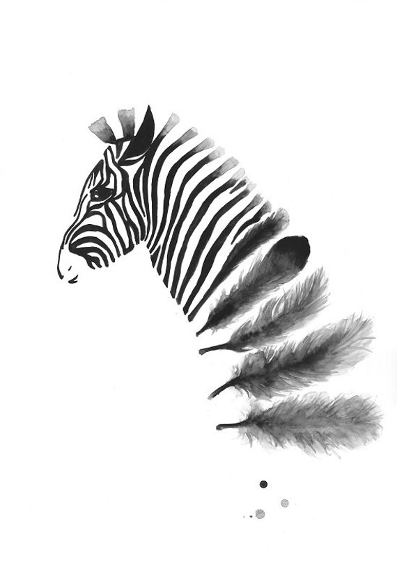 Zebra art print a3 black and white art wall art home by for Black and white mural prints