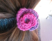 Fiber Flora - Sunrise Rose (hand crocheted small rosebud hair clip)