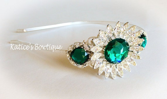 Vintage Emerald Green Rhinestone and Silver Bridal Jewelry Collection Headband