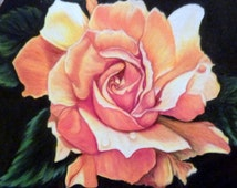 Original Rose Drawing, Colored Pencil Painting, Yellow Rose Picture, Oval frame 8x10