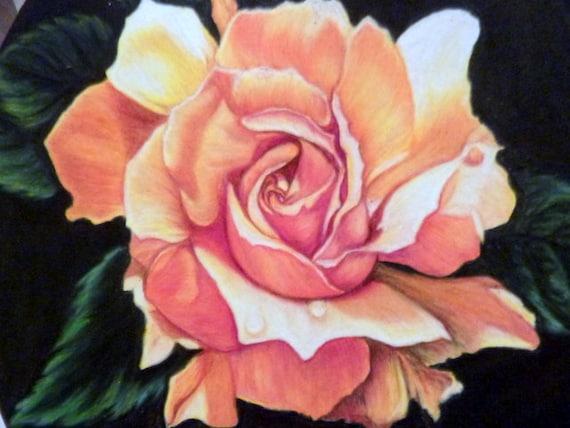 Peinture originale de dessin rose cadeau couleur crayon - Roses dessins ...