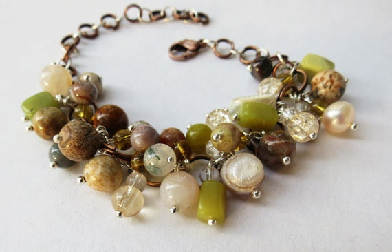 Jasper, Serpentine, Pearl, Glass, Shell, Agate and Copper Cluster Dangle Bracelet, Gemstone, Women, Gift for Her, Jewelry