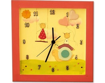 Personalized Pink Nursery Wall Clock, Baby girls WALL CLOCK 12 INCH