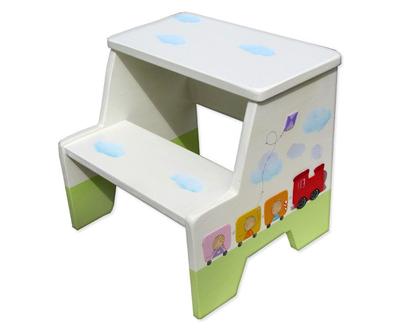 Train Nursery Toddler Boy Gifts Painted Step Stool Step