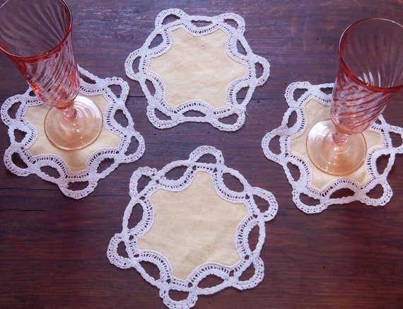 4 Victorian Coasters Yellow Linen Lace Trim French Handmade Cocktails Coasters #sophieladydeparis