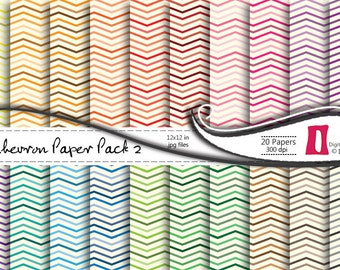 Chevron Digital Scrapbooking Paper- 20 printable papers - 12x12 in - 300dpi, Commercial Use, Instant Download