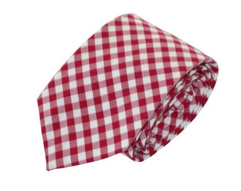 Men's Red Gingham Tie