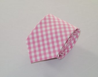 Men's Pink Gingham Tie