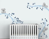 Baby Boy Wall Decal Decor Baby Nursery Light and Navy Blue  - Koala Tree Branches by LittleLion Studio