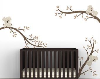 Kids Wall Decals Baby Room Decor Metallic Copper and Light Brown - Koala Tree Branches by LittleLion Studio