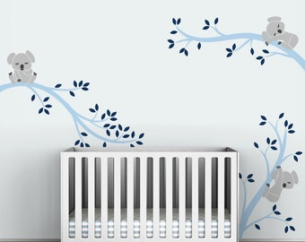 Baby Boy Wall Decal Decor Baby Nursery Light And Navy Blue   Koala Tree  Branches By Part 24
