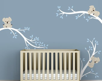 Baby Wall Decals For Nursery Decor White Tree Blue Leaves Wall Sticker    Koala Tree Branches Part 45