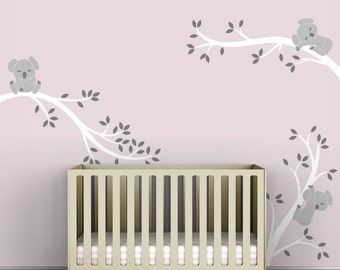 Kids Wall Decal White Tree Decor Baby Nursery - Koala Tree Branches by LittleLion Studio