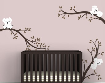 Kids Tree Decal Baby Wall Decal Decor Baby Brown Room Decor - Koala Tree Branches by LittleLion Studio