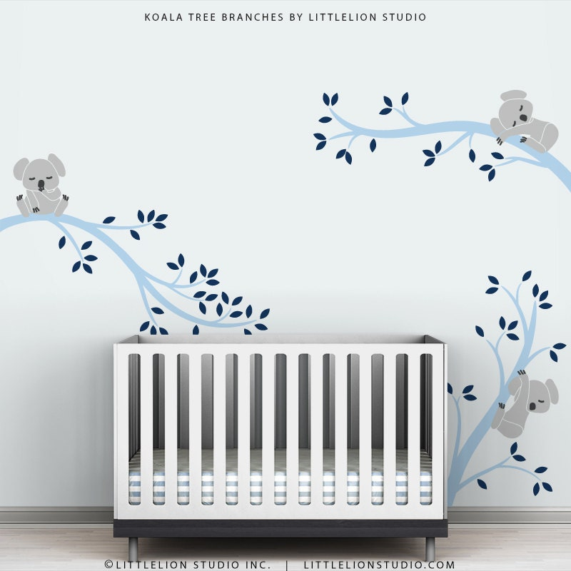 Baby Boy Wall Decal Decor Baby Nursery Light and Navy Blue
