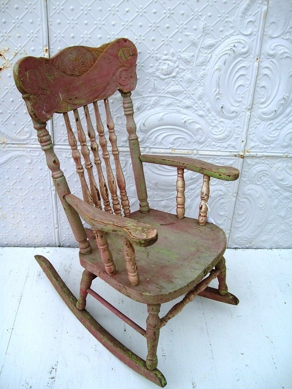 Pressed Back Childs Antique Rocking Chair In By