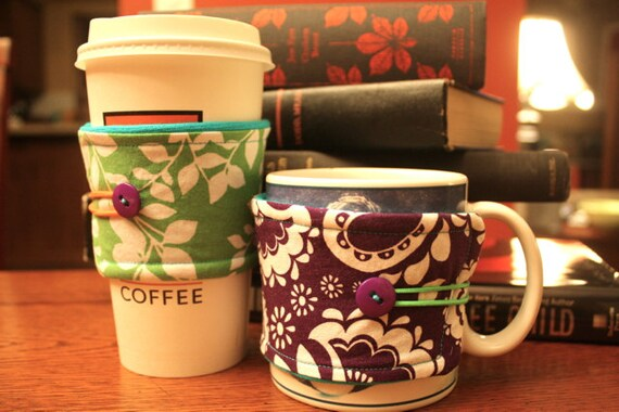 Green and Purple Coffee Cozies with Neon Accents - 2 Pack