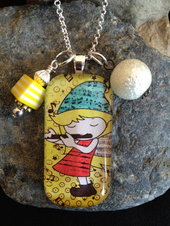 Little Music Girl with Flute glass tile pendant necklace
