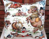 Thelwell Vintage Fabric Cushion - handmade by Alien Couture