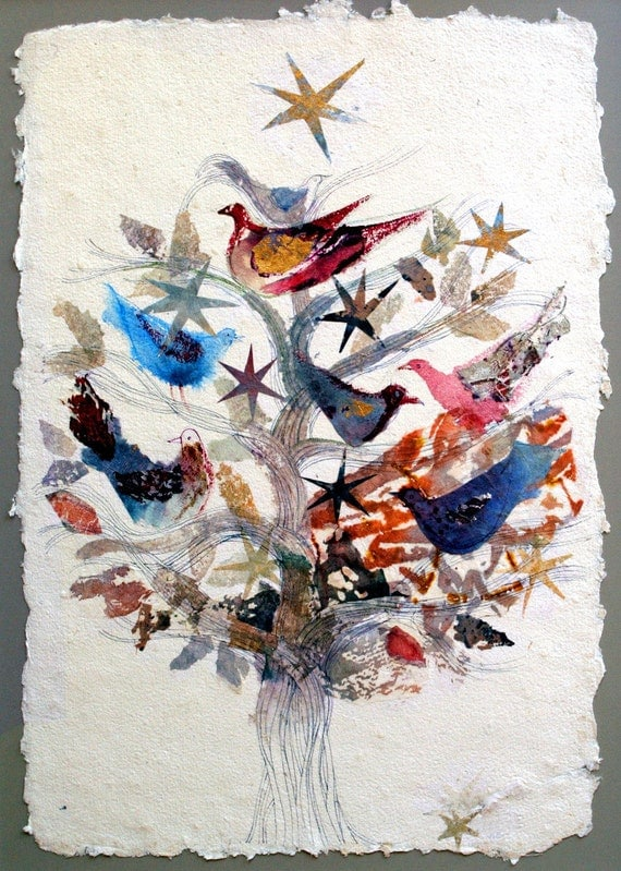 Valentine Gift Birds and Stars ART PRINT Wedding gift Bridesmaid gift ...