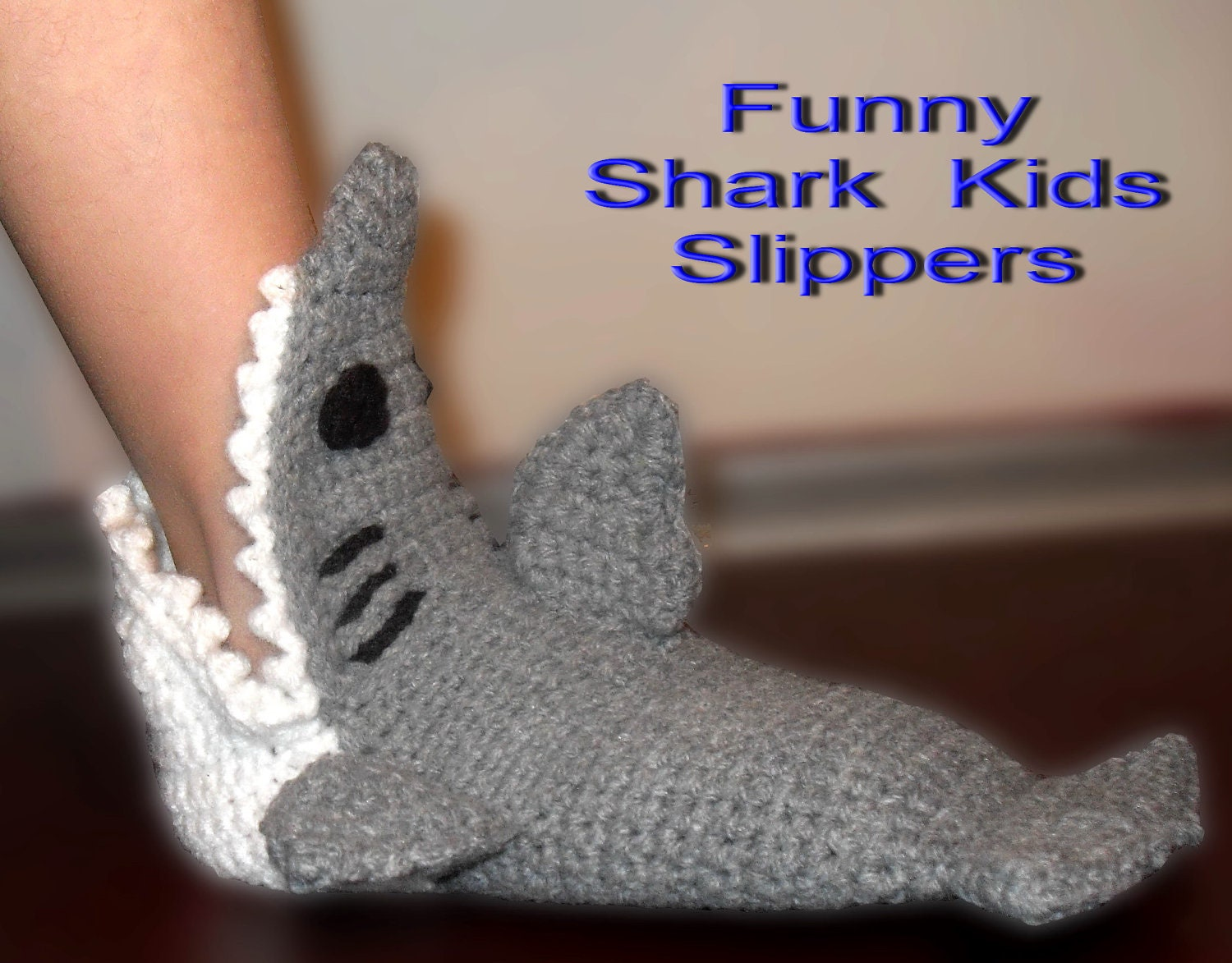 Crochet Shark Shoes Free Pattern : Shark slippers crochet pattern-Kids sizes by UniquePcrochet