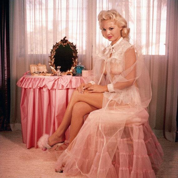 Vintage 50s Marilyn Vlv Mad Men Marabou Feather Satin Boudoir
