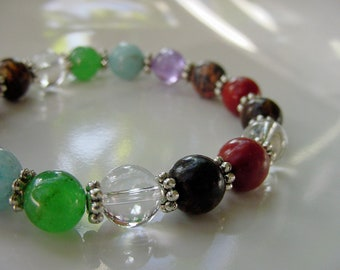 7 Chakra Bracelet Gemstones, FREE Matching Earrings, Balance Harmonize Energy Centers, 7 Primary Chakras, Gift Idea