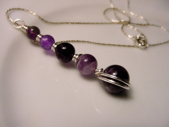 Third Eye Chakra Pendant Necklace, Wire Wrapped Amethyst, Purple Fluorite Semi Precious Stones, Prosperity and Abundance., Free Shipping