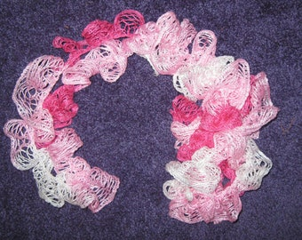 CROCHETED RUFFLE SCARF 108 Inches Long in Shades of Pink.
