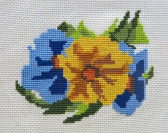 """Counted Cross Stitch """"Pansies"""" Embroidery Floss Needle Craft Handmade"""