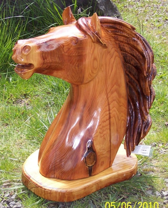 Items similar to chainsaw carved cedar horse bust on etsy