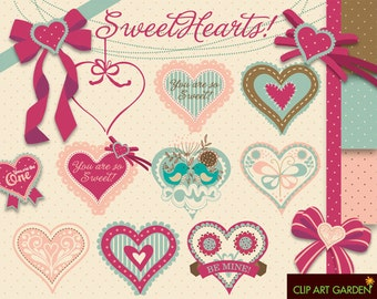 INSTANT DOWNLOAD 20 decorated hearts, bows, polka dots. Digital clipart elements for Personal and Commercial use.