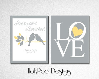 Modern Yellow Gray Home Decor Duo Print Set Love Is Patient Love Is Kind Bible Verse