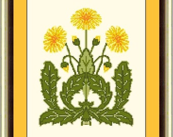 Art Deco Floral - Dandelion cross stitch pattern sold as pdf file