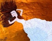Abstract freedom painting of a woman in a white dress....