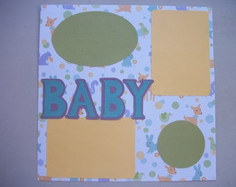 Baby Scrapbook premade page 12 x 12