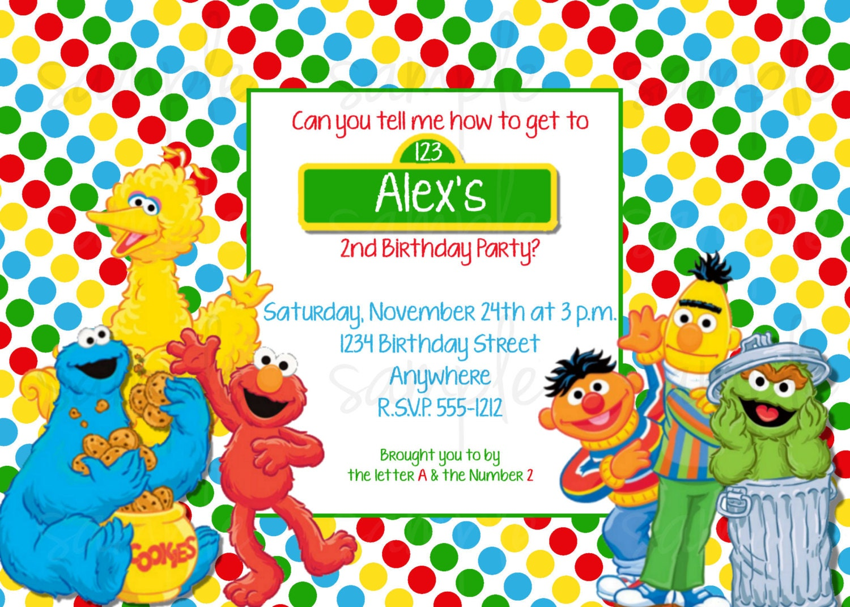 Sesame Street Birthday Invitation Elmo and Friends Birthday
