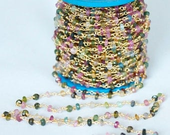 5 feet Multi Tourmaline Faceted and Sterling Silver Vermeil Wire Chain