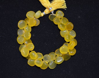 """Yellow Chalcedony smooth Heart Shape  8 to 12 mm , 8"""" strings length and 36 pc approx."""