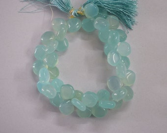 Sea foam Chalcedony Smooth Heart Shape 11 to 13 mm approx. 8inch strand , 40 pc approx.