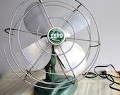 Mid Century Electric Fan-1950s Metallic Green Zero Brand-Oscillating